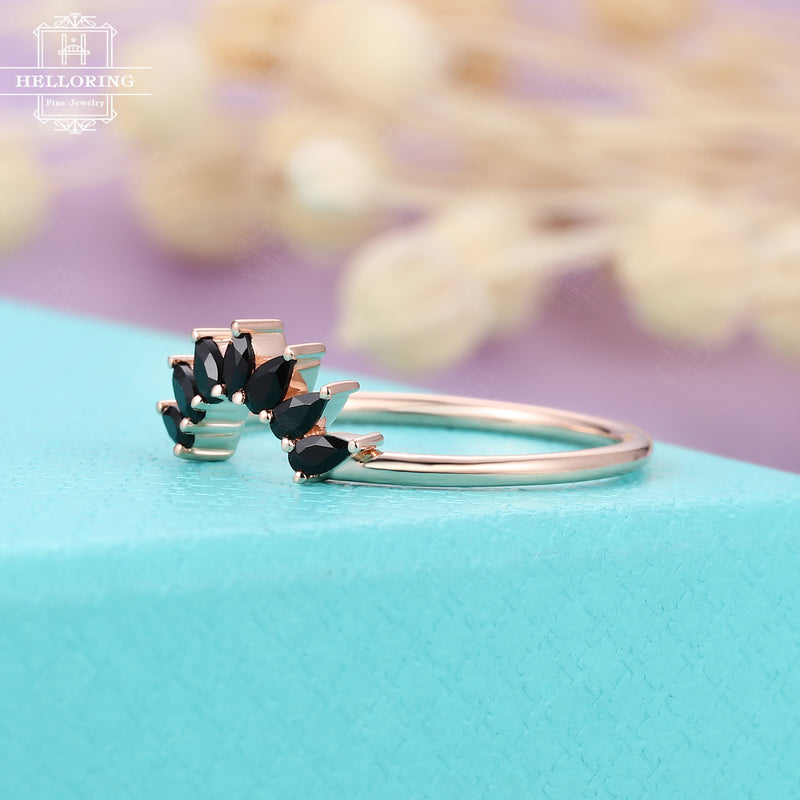 Pear shaped Black onyx wedding band, rose gold Women curved Matching Stacking ring Unique Jewelry Promise Anniversary gift for her