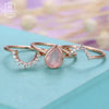 3pcs Rose Quartz Engagement Ring Rose Gold Vintage Diamond Wedding ring set Women Bridal jewelry Pear Shaped Cut Stacking Promise
