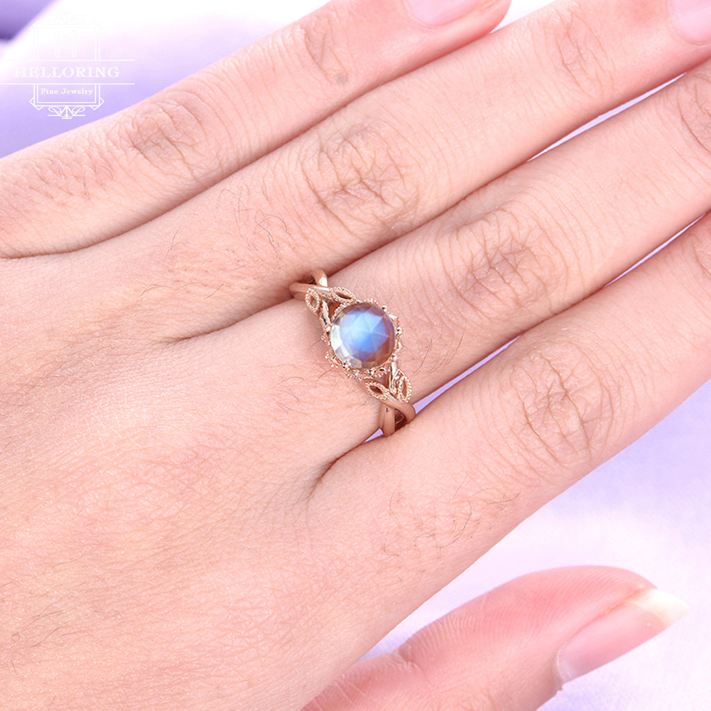 Moonstone engagement ring Rose gold engagement ring Women Wedding Rose cut Diamond Bridal Jewelry Anniversary gift for her Milgrain Leaf