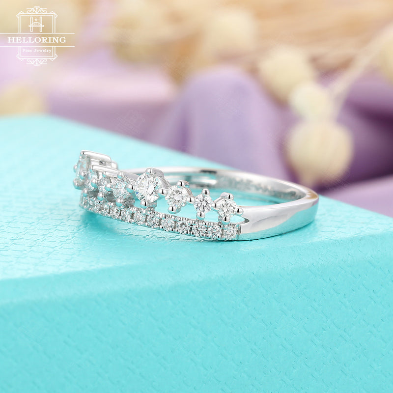Moissanite Wedding band White gold Women Diamond Unique Jewelry Curved Stacking Matching Anniversary gift for her Prong set Personalized