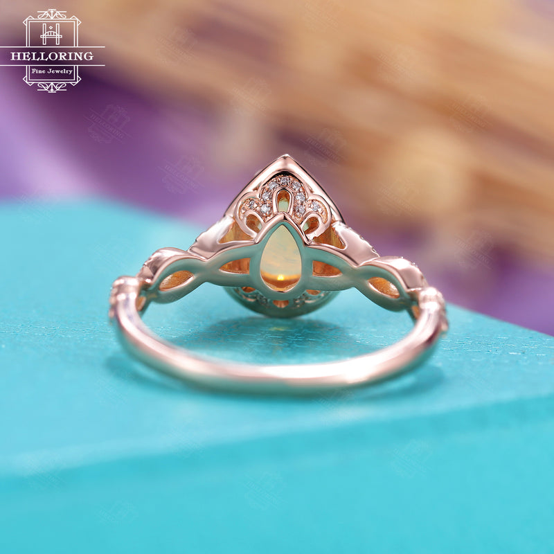 Vintage opal engagement ring, Pear shaped,moissanite/ diamond ring women Rose Gold, Unique twisted band,halo set,Bridal Jewelry Anniversary