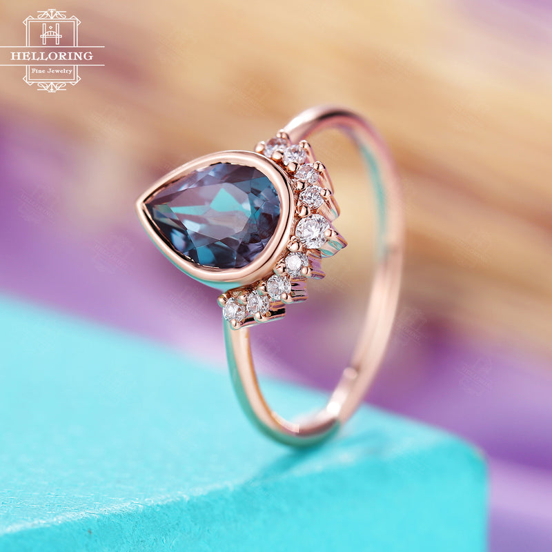 Pear shaped Alexandrite Engagement ring, vintage rose gold rings women, diamond wedding ring, bridal jewelry,Promise Anniversary gifts