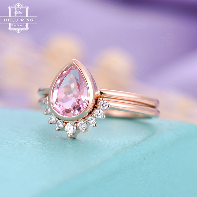 Pink sapphire engagement ring Rose gold Curved wedding band Diamond Pear shaped Bridal set Women Unique Jewelry Anniversary gift for her