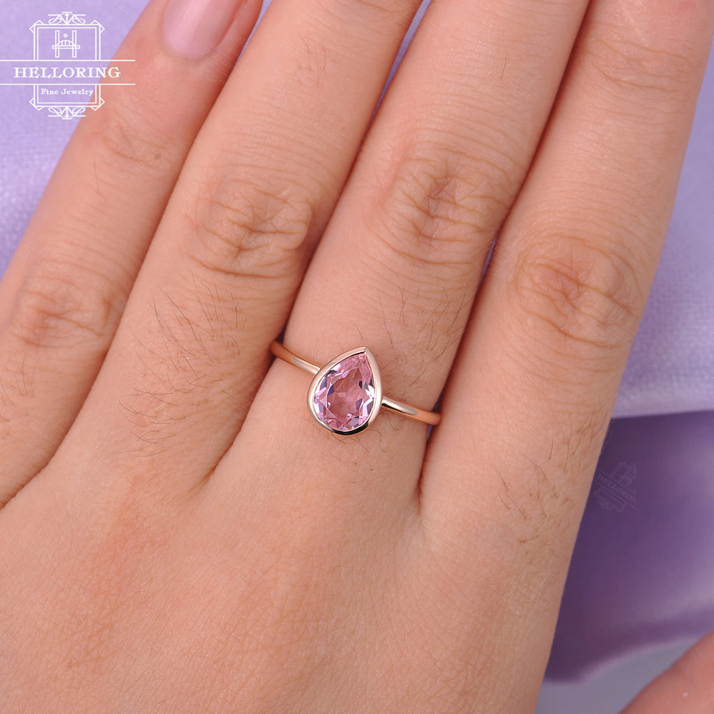 Pink sapphire engagement ring Women Pear shaped engagement ring Rose gold Wedding Unique Bridal Jewelry Anniversary gift for her Promise