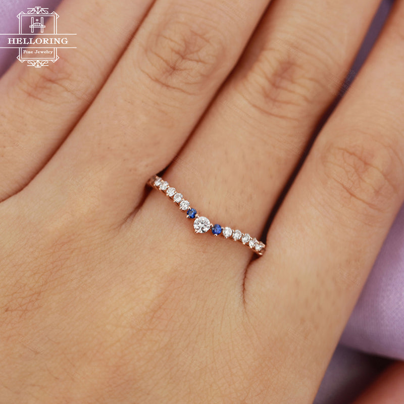 Moissanite wedding bands Women Rose gold Sapphire Dainty Jewelry Unique Matching Stacking Micro pave Half eternity Gift for her Bridal