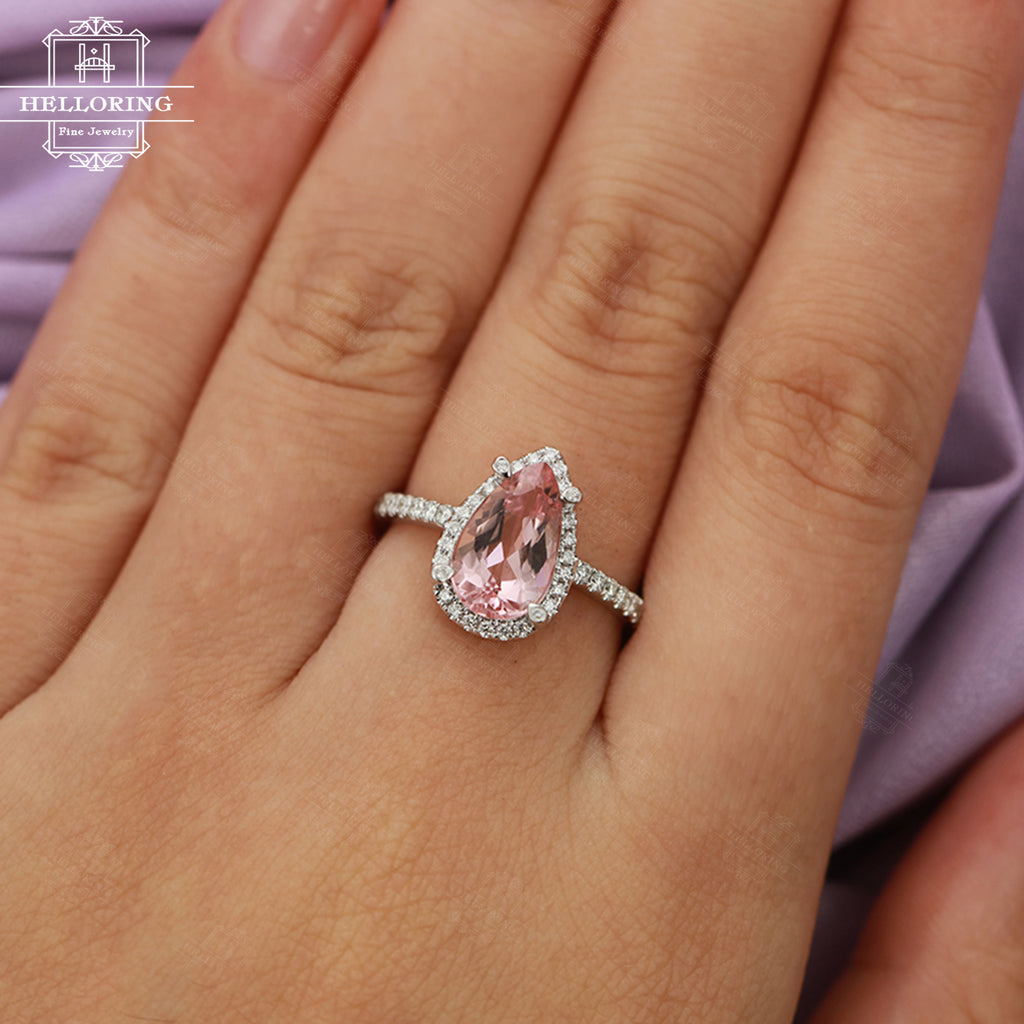 Morganite engagement ring White gold Women Wedding Halo Diamond Pear shaped Jewelry Unique Promise Anniversary gift for her Half eternity
