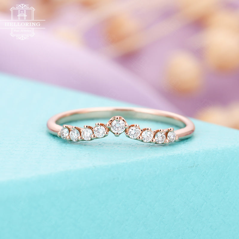 Curved Diamond Wedding Band 14K Rose Gold Women Antique Unique Eternity Dainty Stacking Ring Bridal Simple Anniversary Gifts For Her