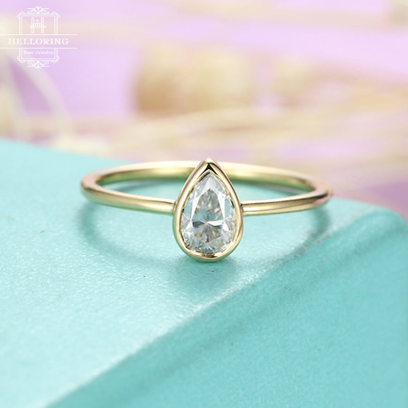 Moissanite engagement ring Pear shaped engagement ring Women Wedding Simple Solitaire Unique Bridal Jewelry Promise Anniversary gift for her