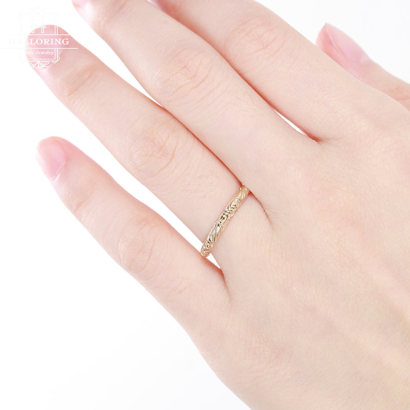 Rose gold Wedding band women vintage antique Dainty Minimalist Simple Delicate Stacking Promise Stackable Matching band gift for her