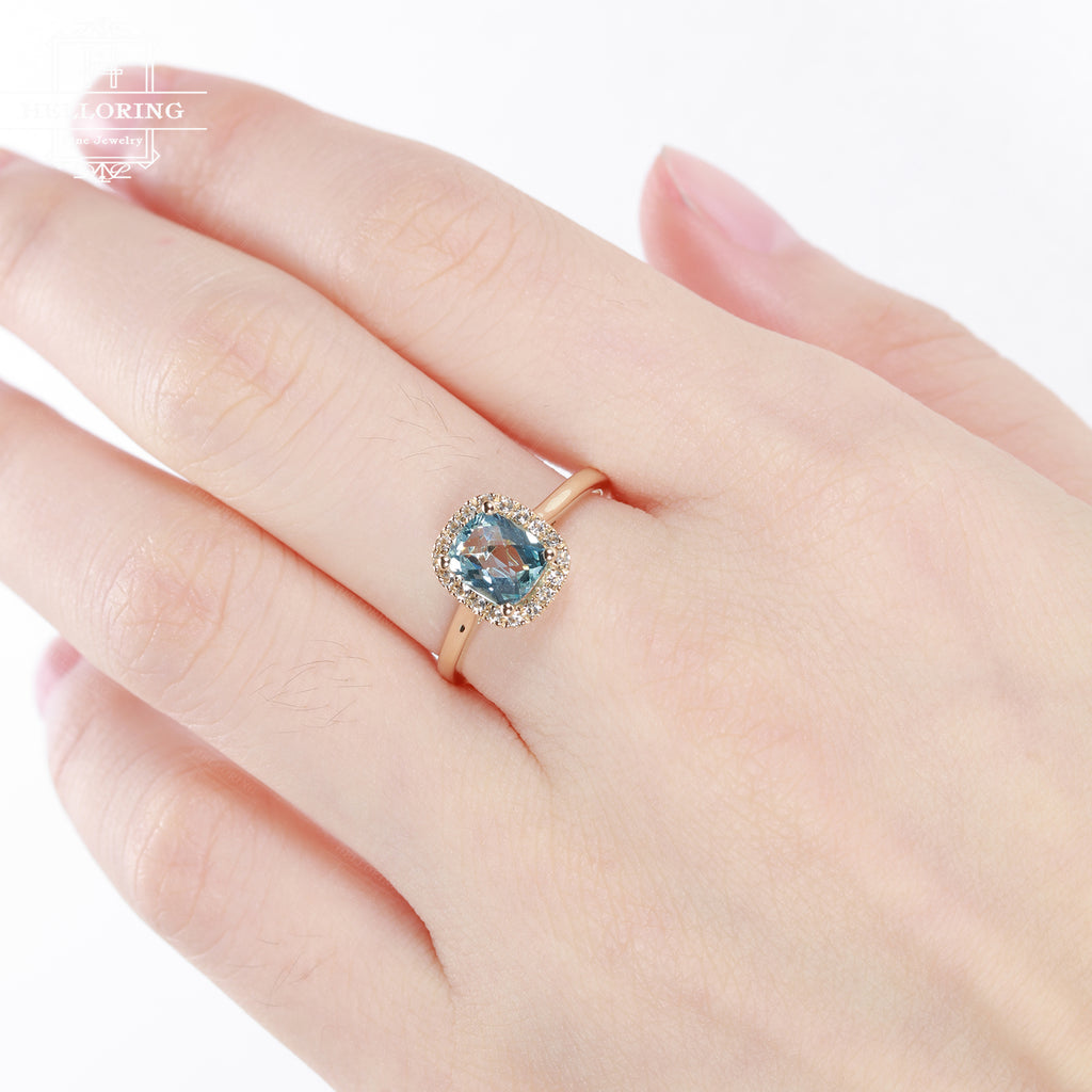 Aquamarine Engagement Ring Rose Gold Art Deco Antique Wedding Women Halo Diamond Cushion Cut Vintage Bridal Set Anniversary Gifts For Her