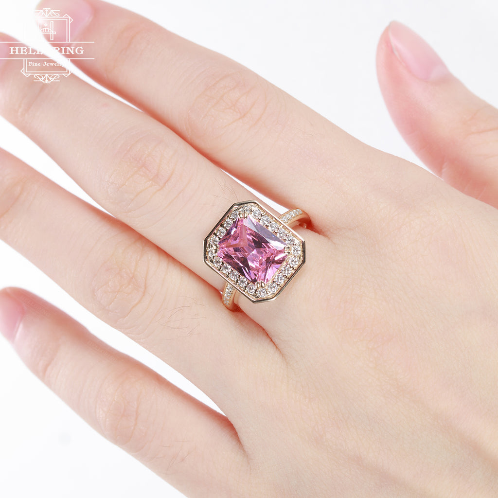 Rose gold Engagement ring Pink CZ Cubic Zirconia Wedding women diamond antique halo emerald cut bridal set birthstone Christmas gift for her