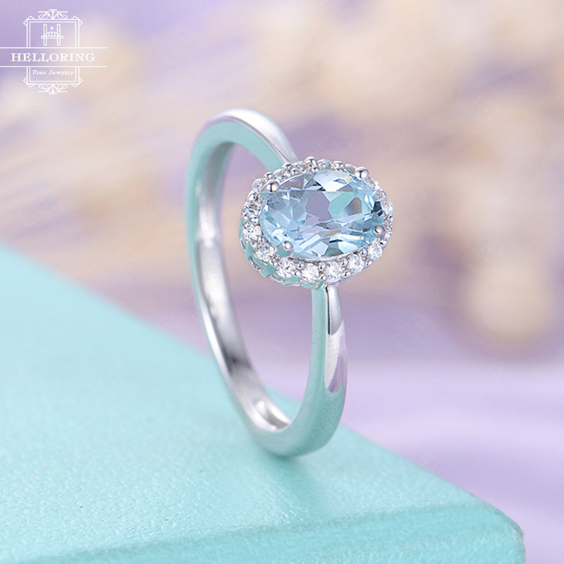 Aquamarine engagement ring Oval engagement ring Vintage Diamond Gift for women Wedding Antique Unique Halo set Bridal Jewelry Anniversary