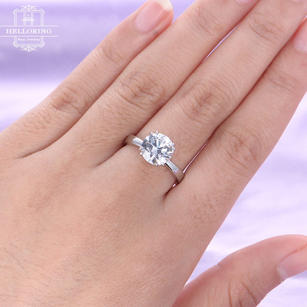 Unique engagement ring Moissanite engagement ring Women Wedding Diamond Vintage Bridal Jewelry Anniversary gift for her Matching Promise