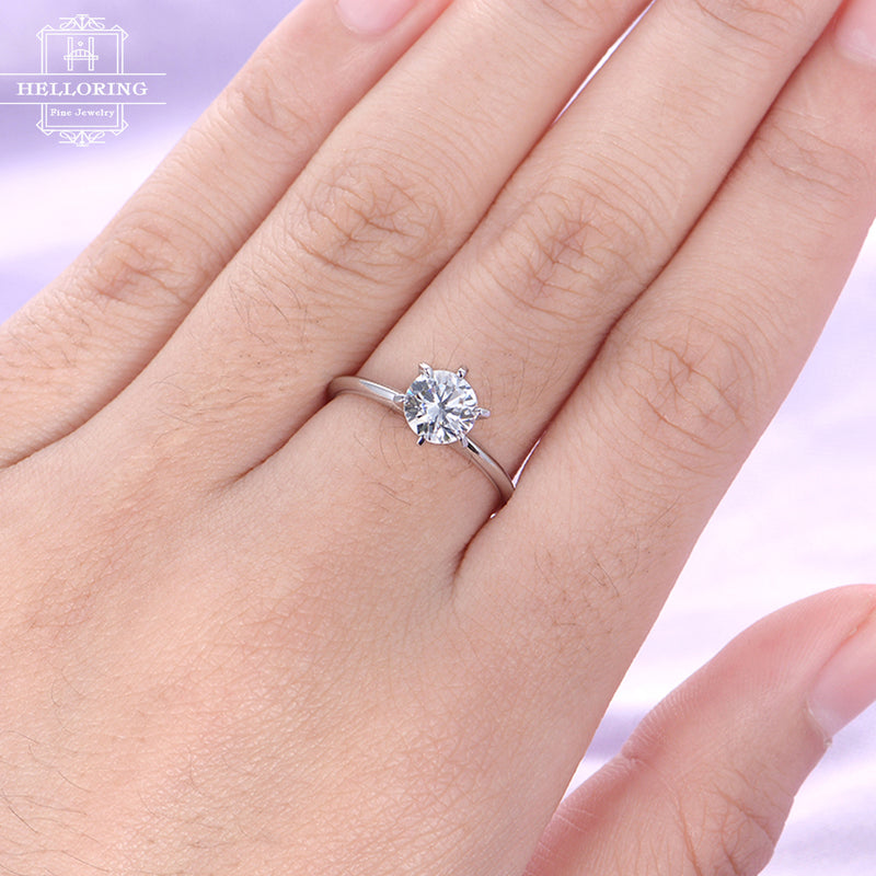 Moissanite engagement ring Solitaire engagement ring Simple Diamond wedding ring white gold dainty women promise gift for her bridal set