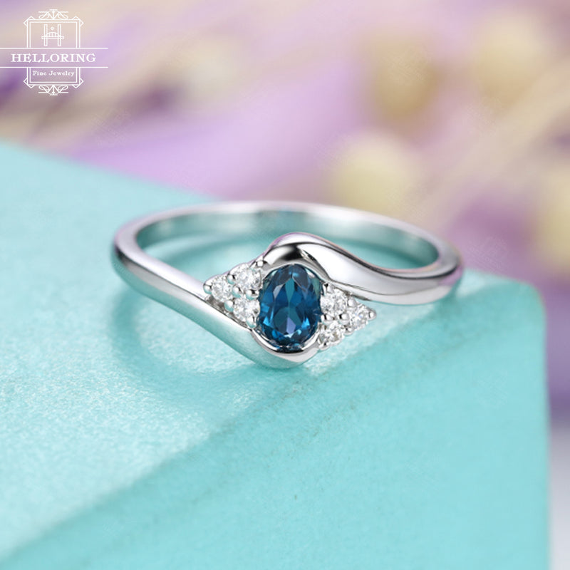 Unique engagement ring Topaz engagement ring Pear shaped London blue Cluster diamond Bridal Jewelry Twisted Promise Anniversary gift for her