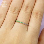 Amethyst wedding band Green Garnet wedding band Women Jewelry Stacking Matching Eternity ring Unique Simple Bridal Anniversary gift for her