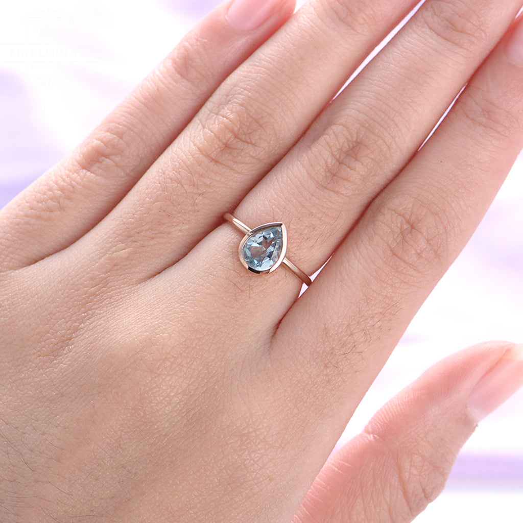 Aquamarine Engagement Ring Rose Gold Vintage Minimalist engagement ring Wedding women Bridal jewelry Simple Pear Shaped Valentines day gift