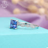 Tanzanite Princess cut Engagement Ring , White Gold ,Vintage Diamond wedding ring for women Unique Jewelry, Art deco ,Twist band Antique