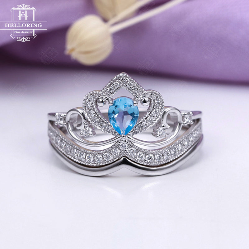 Swiss blue topaz engagement ring set White gold Women Diamond Curved Wedding band Art deco Jewelry Pear shaped Cut Unique Promise Micro pave