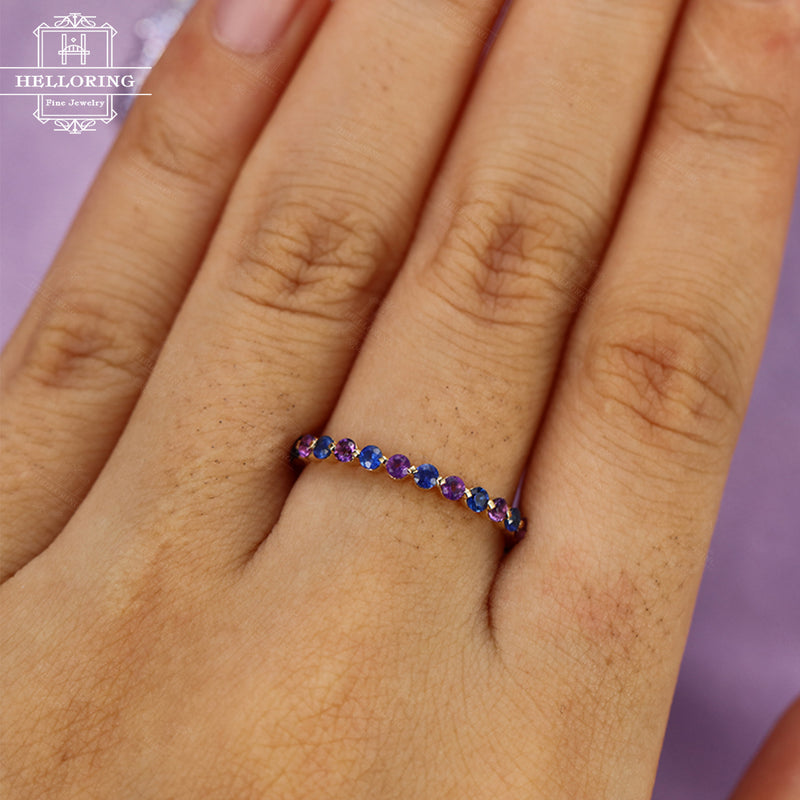 Amethyst wedding band Sapphire wedding band Women Jewelry Stacking Matching Eternity ring Unique Bridal Anniversary gift for her Promise
