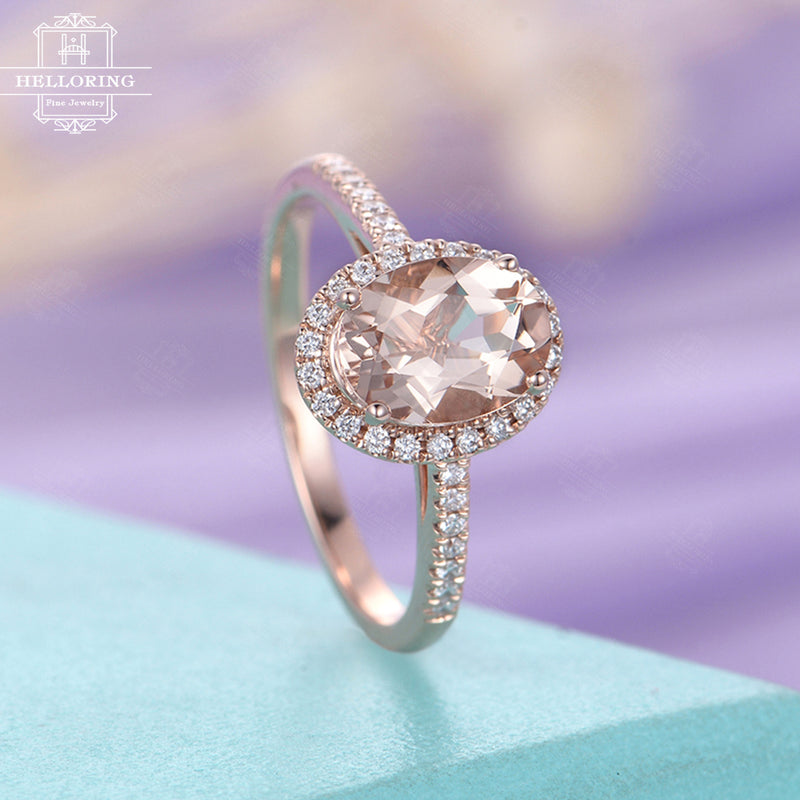 Morganite engagement ring rose gold Vintage Oval cut Halo Diamond Wedding women Antique Art deco Bridal Jewelry Half Eternity Anniversary