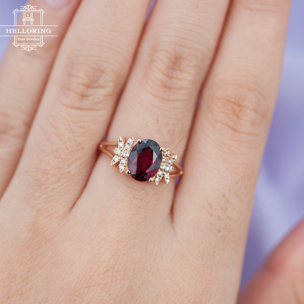 Garnet engagement ring Rose gold engagement ring Vintage women diamond Antique Unique Birthstone Bridal set Jewelry Anniversary gift for her