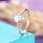 Moissanite Engagement ring, rose gold,pear shaped 7*10mm, vintage wedding ring women,prong set, simple promise ring,Anniversary gift for her
