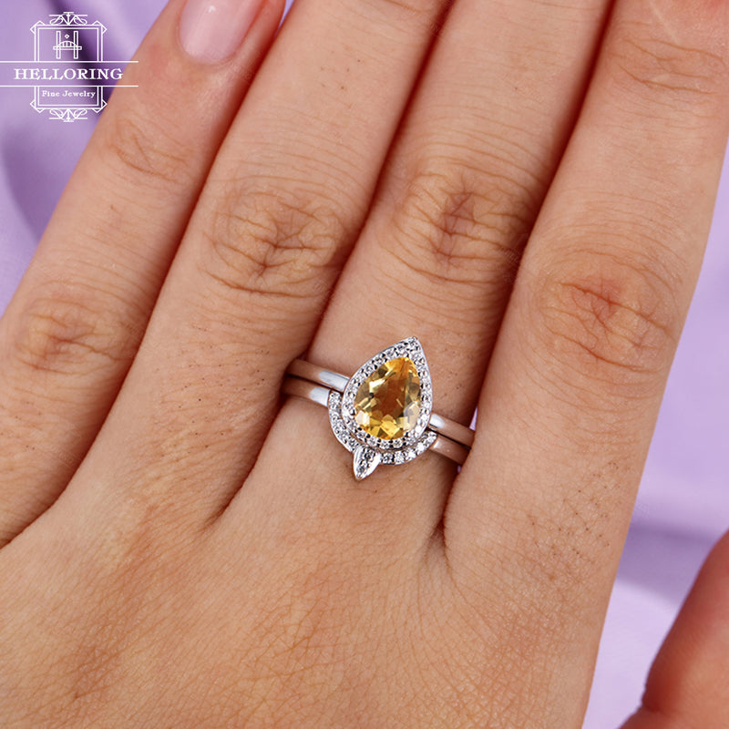 Citrine engagement ring Vintage Curved wedding band Women Diamond Pear shaped Halo set Jewelry Bridal set Anniversary gift for her Promise