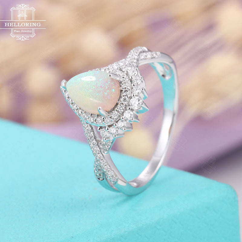Opal engagement ring white gold women,Pear shaped wedding ring vintage,Halo diamond half eternity jewelry,Anniversary gifts for her Promise