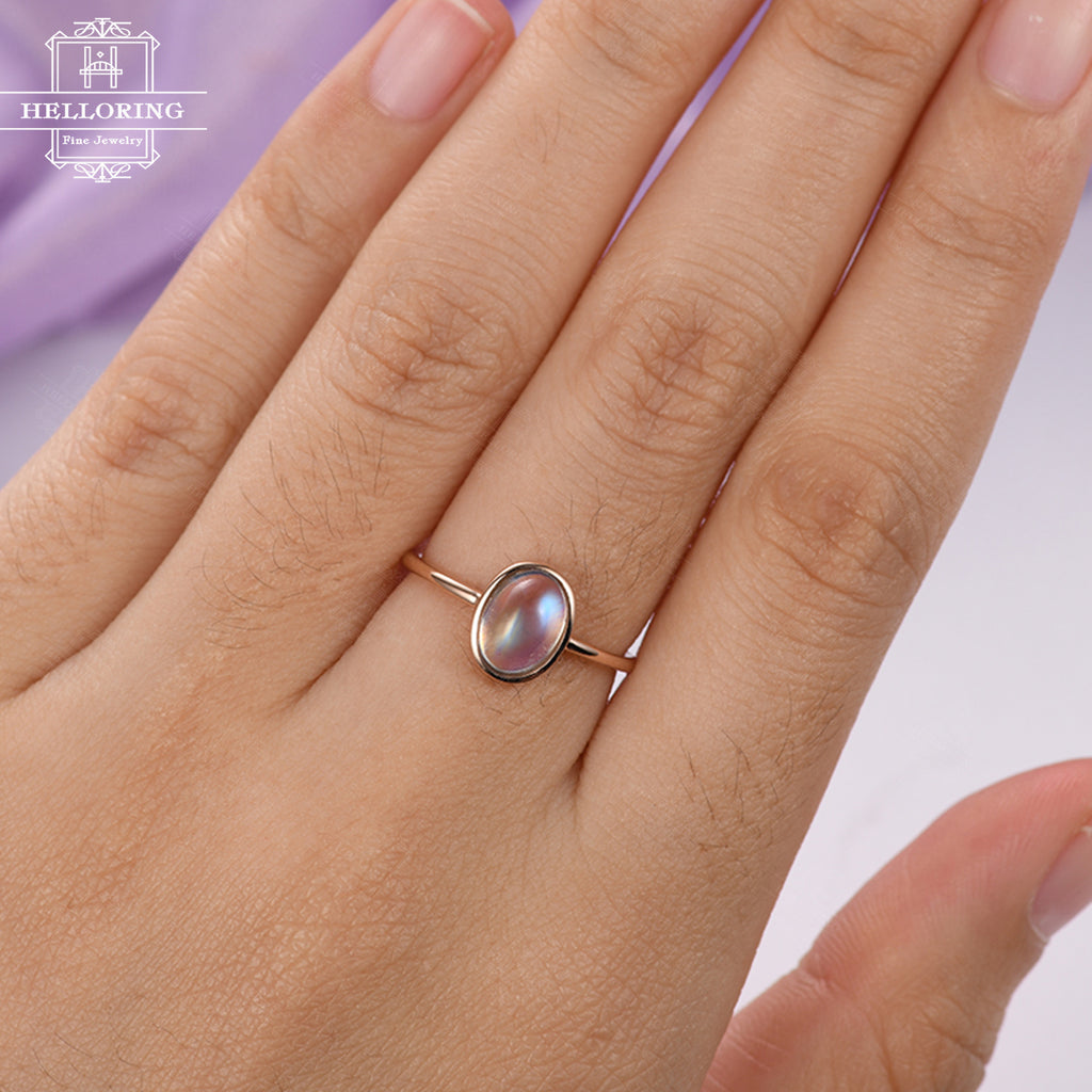 Oval engagement ring Rose gold Moonstone engagement ring Women Wedding Solitaire Vintage Antique Unique Jewelry Anniversary gift for her
