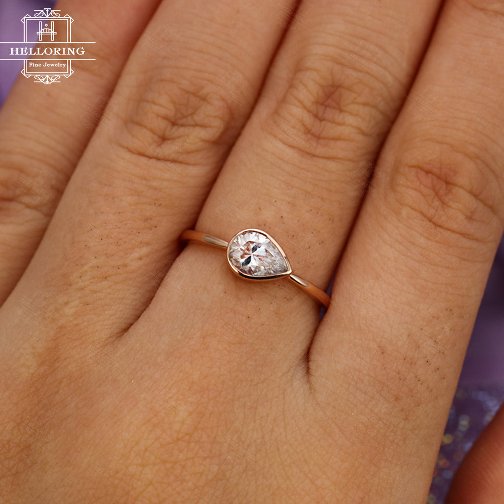 Solitaire Moissanite Engagement Ring Rose Gold Women Pear Shaped