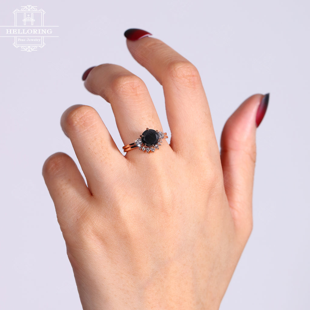 Vintage black onyx engagement ring set Art deco diamond curved wedding band women Rose Gold Unique Simple Bridal Jewelry Anniversary gift