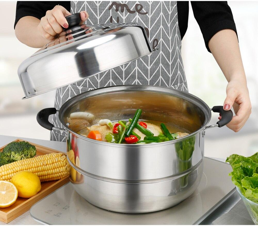Thick Stainless Steel Two-layer Steamer Cookware