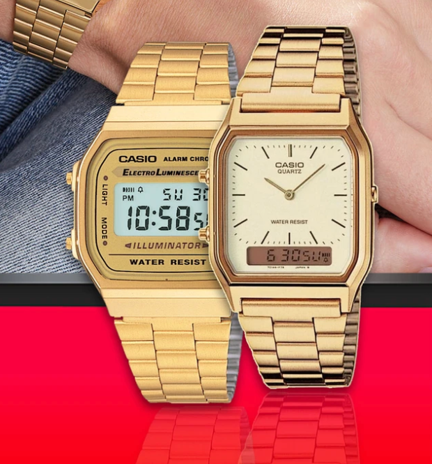 Casio Vintage Retro Gold Digital & Analog Watch Bundle of 2 pcs