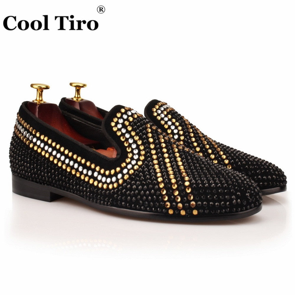 eshopella - Smoking Slippers shoes Men diamond Rhinestone Leather Loafers -