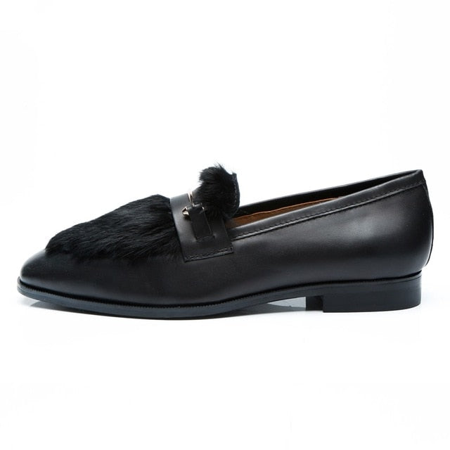 eshopella - New Arrival Men Black Loafers Hot Sale Slip-on Leather Shoes -