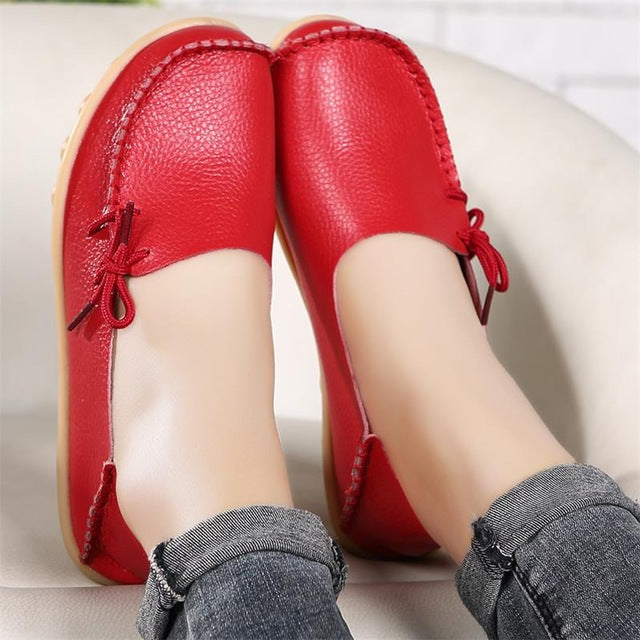 eshopella - New Real Leather Women Flats Moccasins Loafers -