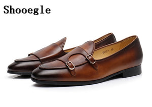 eshopella - Fashion Real Leather Vintage Style Men Casual Shoes -