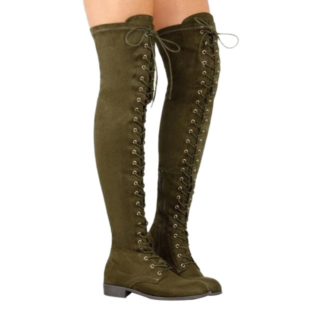 eshopella - Sexy Lace Up Over Knee Boots Women rome style Boots -