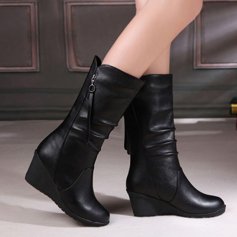 eshopella - Women Boots Wedge Mid Calf Boots Women Shoes Black Fashion Mother Shoes Leather Boots -