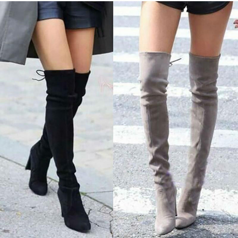 eshopella - Women Thigh High Boots Fashion Suede Leather High Heels -