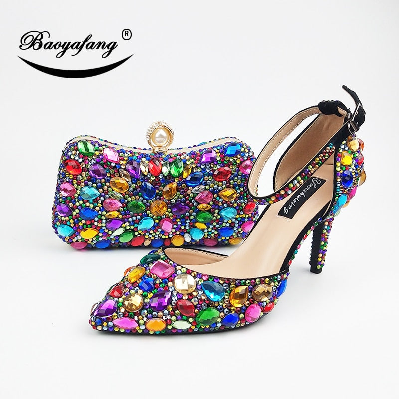 eshopella - Women wedding shoes with matching bags Multicolored Crystal High heels -