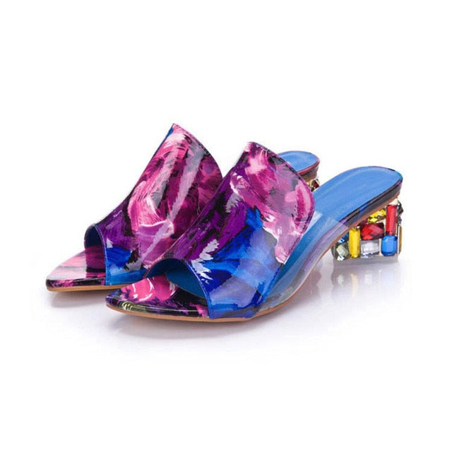 Elegant crystals chunky Heels Shoes - Discountgereation