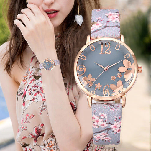 Flowers Printed Belt Dial Quartz Watch - Discountgereation