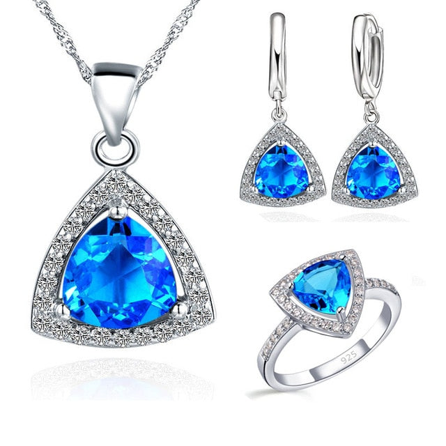 Triangle Cubic Zirconia Earrings Necklaces Rings Set - Discountgereation