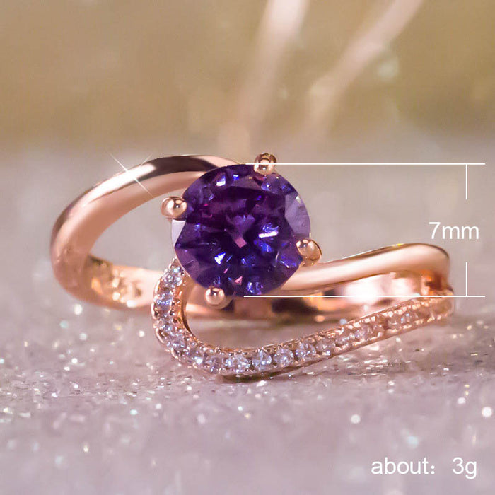 CZ Purple Crystal Zircon Cocktail Ring - Discountgereation
