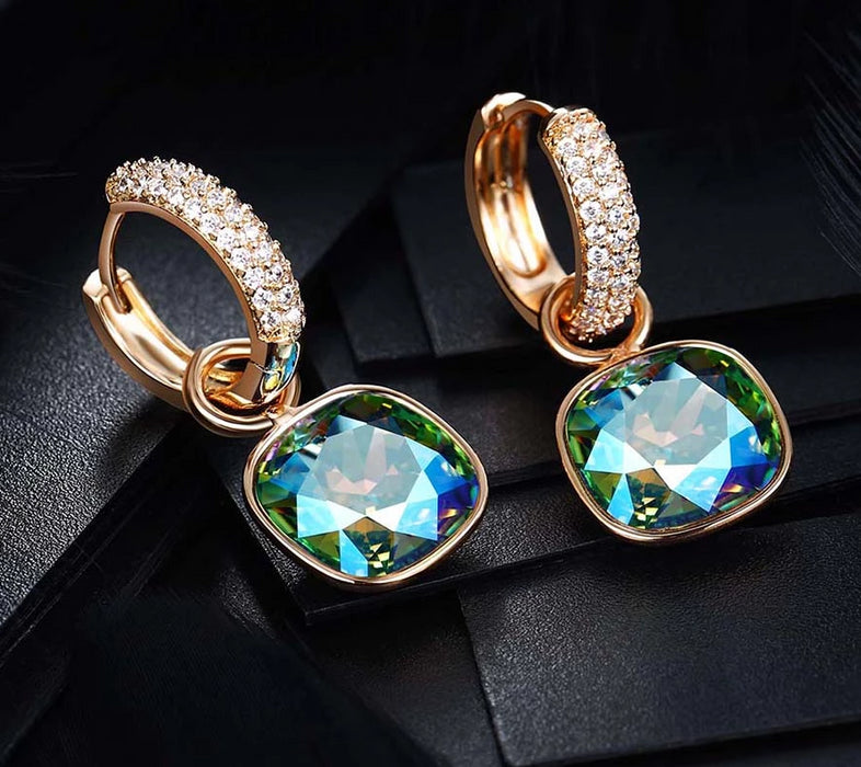Geometric Crystals Plated Earrings - Discountgereation