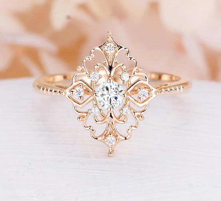 Golden Flower Shape Wedding Ring - Discountgereation