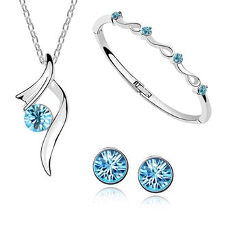 Austrian Crystal Pendant Bride Jewelry Sets - Discountgereation