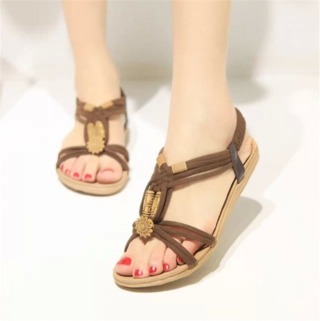 Bohemia Gladiator Beach Flat Sandals - Discountgereation